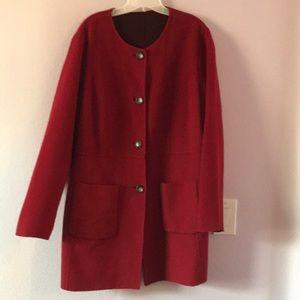 Burgundy/plum Talbots reversible wool coat